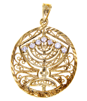 9ct Yellow Gold Stone Set Menorah Pendant