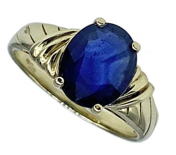 9ct Gold Ladies facetted Blue Cubic zirconia ring
