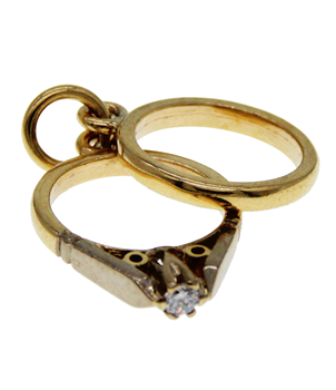 9ct Yellow Gold Engagement & CZ Wedding Ring Charm