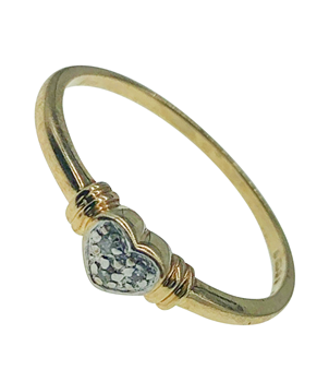 9ct Yellow Gold Heart Gem Set Ring