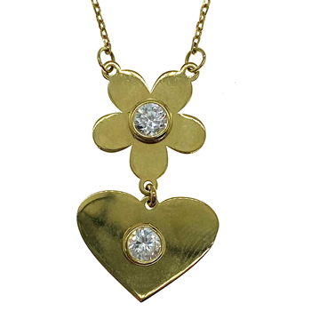 18ct Yellow Gold Flower And Heart Pendant On Fine Chain
