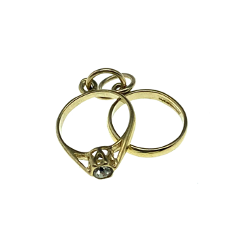 9ct Yellow Gold CZ Engagement & Wedding Ring Charm