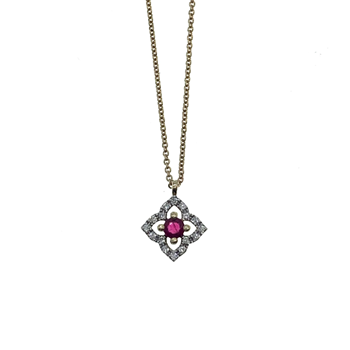 14ct Yellow Gold Chain With Ruby & CZ Pendant