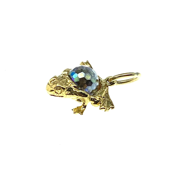 9ct Yellow Gold Frog Charm With CZ Stone