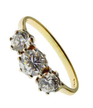 14ct Yellow Gold Cubic Zirconia Trilogy Ring