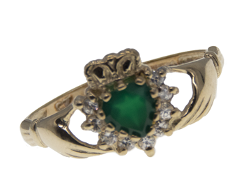 9ct Green CZ Claddagh Ring