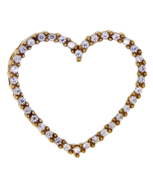9ct Yellow Gold Heart Shaped Pendant With CZ