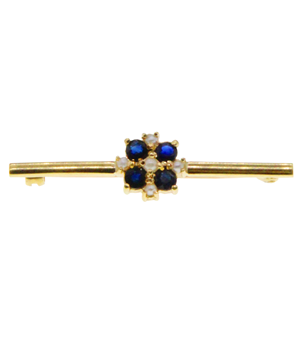 9ct Yellow Gold Sapphire and Pearl Brooch