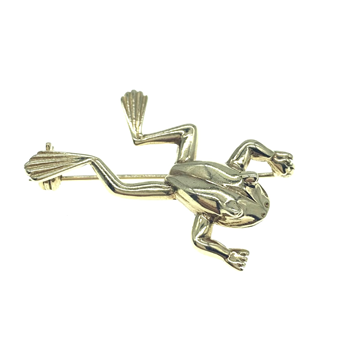9ct Yellow Gold Frog Brooch