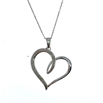 9ct White Gold Heart Pendant With Fine Hanging Chain