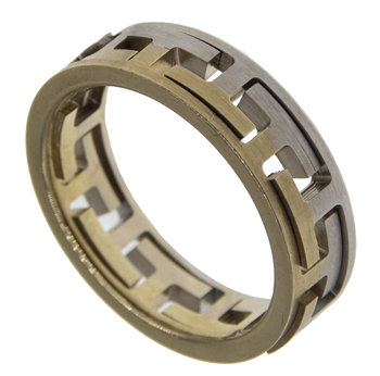 Two Tone Greek Key Design Ring
