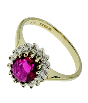 9ct Yellow Gold Diamond Ring With Pink Sapphire