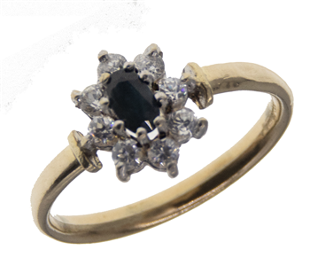 9ct Sapphire & CZ Cluster Ring