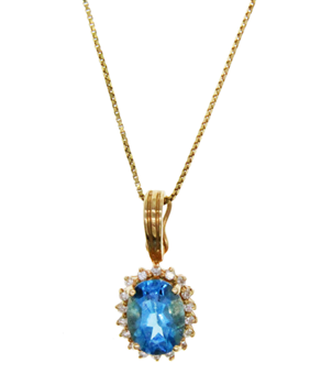 14ct Yellow Gold Blue Topaz & CZ Oval Necklace