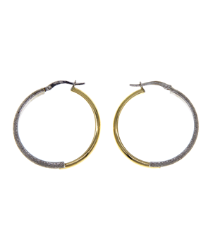 9ct Two Toned Yellow Gold Stardust Hoops