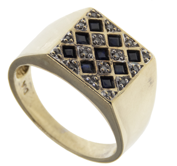 9ct Yellow Gold Diamond & Sapphire Gents Signet Ring