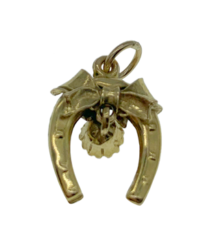 9ct Yellow Gold Horse Shoe And Bell Charm