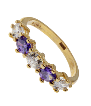 9ct Yellow Gold Amethyst  And CZ Half Eternity Ring