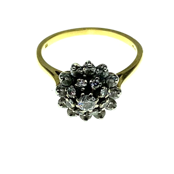 18ct Yellow Gold Diamond Cluster Ring