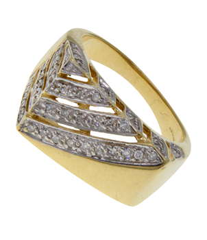 9ct Yellow Gold Men's Diamond Signet Ring
