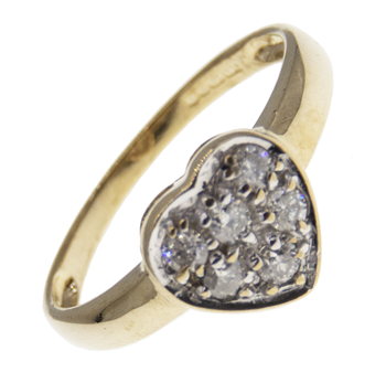 9ct CZ Heart Cluster Ring