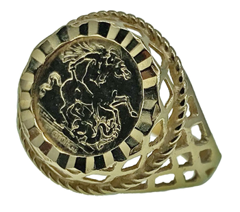 9ct Yellow Gold St George & Dragon Quarter-Sovereign Ring