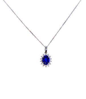 9ct White Gold Hanging Chain With Gemset Cluster Pendant