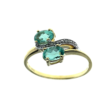 9ct Yellow Gold Ring With Green & White CZ Stones