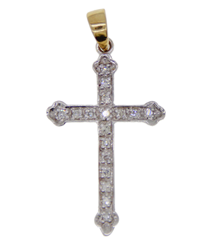 9ct White Gold CZ Stone Set Cross