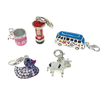 Sterling Silver 925 Assortment Of Coloured Clip On Charms