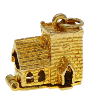 9ct Yellow Gold Open Church Wedding Charm