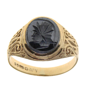 9ct Yellow Gold Hematite Oval Signet Ring
