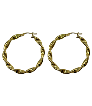 18ct Yellow Gold Twisted Hoop Earrings