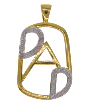 9ct Yellow & White Gold CZ Dad Pendant