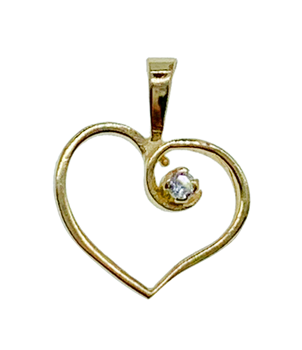 9ct Yellow Gold Heart Charm With CZ