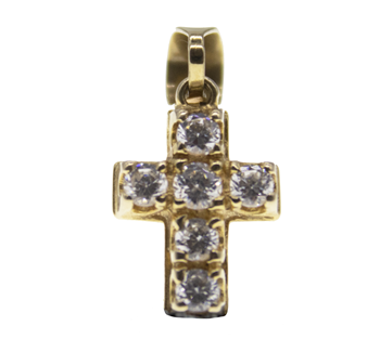14ct Yellow Gold CZ Small Cross Pendant