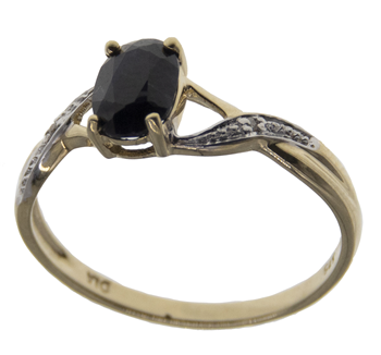 9ct Yellow Gold Sapphire & Diamond Solitaire Ring