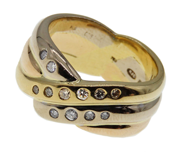 9ct Yellow Gold Tricolour Diamond Set Twist Ring