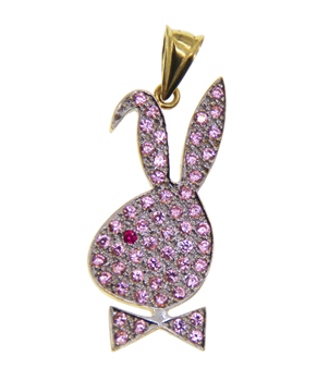 9ct Yellow Gold Gemset Playboy Pendant