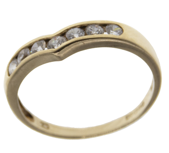 9ct Yellow Gold CZ Wishbone Ring