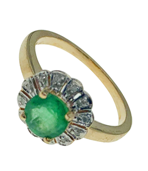 9ct Yellow Gold Luke Stockley Green Gem Set Ring