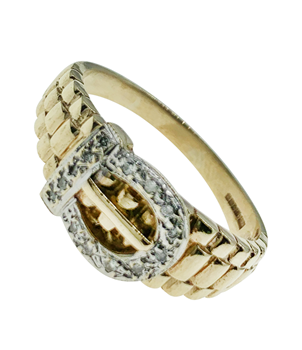 9ct Yellow Gold Diamond Buckle Ring