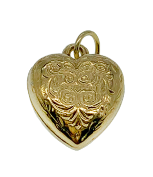 9ct Yellow Gold Patterned Heart Charm