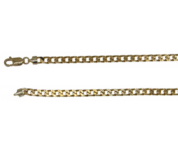 9ct Yellow Gold Solid Flat Square Curb Chain