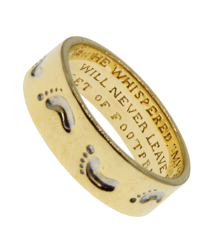 9ct Yellow Gold Footprints in the Sand Spinner Ring
