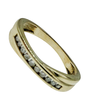 9ct Yellow Gold Diamond Crossover Ring