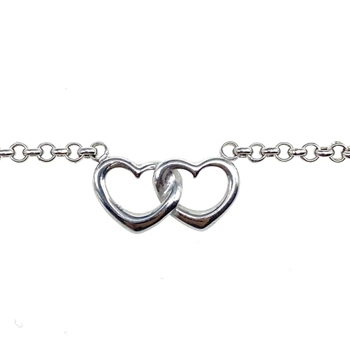 9ct White Gold Belcher Chain With Double Heart