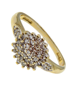 9ct Yellow Gold Cubic Zirconia Cluster Ring