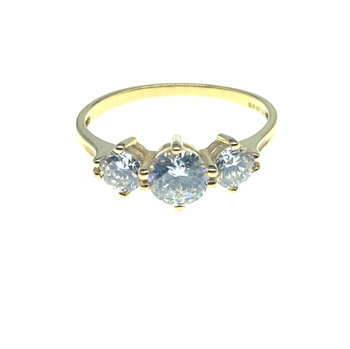 14ct Yellow Gold Trilogy CZ Ring