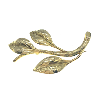 9ct Yellow Gold 3 Leaf Brooch